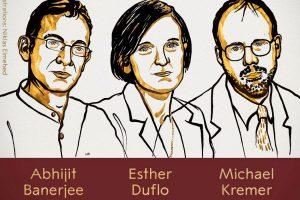Trio de ganhadores do Prêmio Nobel de Economia de 2019.