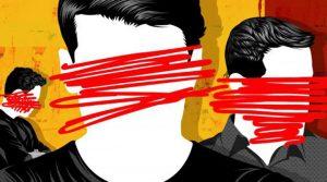 Censura - rostos riscados caneta vermelha